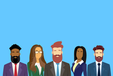 diverse business team: Business People Group Diverse Team Businesspeople Flat Vector Illustration Illustration