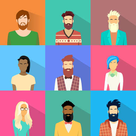 ethnic mix: People Profile Diversity Avatar Set Icon Mix Race Ethnic Man and Woman Portrait Casual Person Silhouette Face Collection Flat Vector Illustration