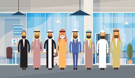 national costume: Arab Business People Office Interior Muslim Team Men Traditional Arabic Clothes Businesspeople Flat Vector Illustration