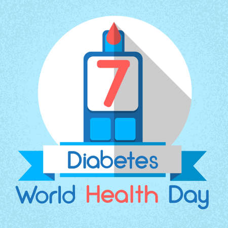 glucose: Blood Drop From Glucose Level Glucometer Diabetes World Health Day 7 April Holiday Banner Flat Vector Illustration Illustration