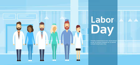Illustrazione Day Medical team medico Gruppo Labor 1 maggio Holiday Flat Vector