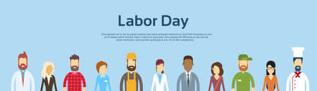 People Group Different Occupation Set, International Labor Day Banner Flat Vector Illustration