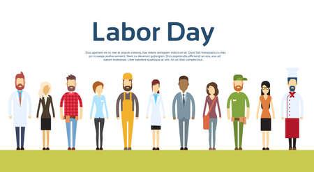 jornada de trabajo: La gente grupo diferente conjunto de la ocupaci�n, Ilustraci�n Internacional del D�a del Trabajo plana vectorial