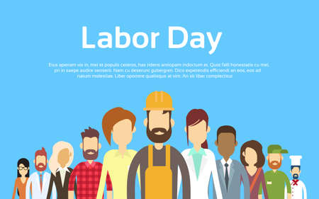 People Group Different Occupation Set, International Labor Day Flat Vector Illustration Vettoriali
