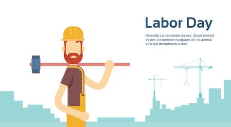 Worker With Big Hammer Wearing Hard Hat, Builder Industrial Background, International Labor Day Copy Space Flat Vector Illustration Vetores