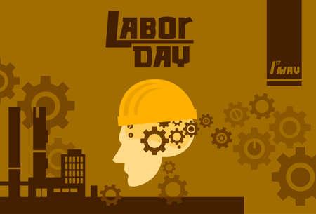 factory worker: International Labor Day, Man Wear Hard Hat Factory Exterior, Worker Safety Concept Vector Illustration Illustration