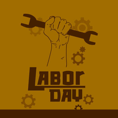 workers rights: Hand Hold Spanner Wrench International Labor Day May Holiday Flat Vector Illustration