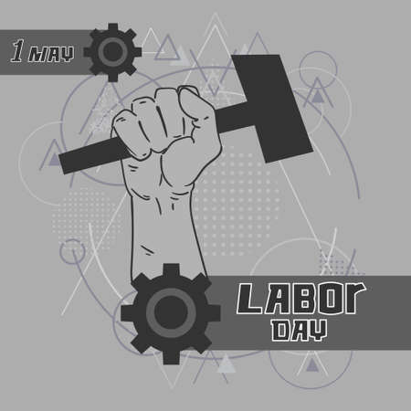 labor strong: Hand Hold Hammer Labor Day May Holiday Over Gray Triangle Geometric Background Vector Illustration Illustration