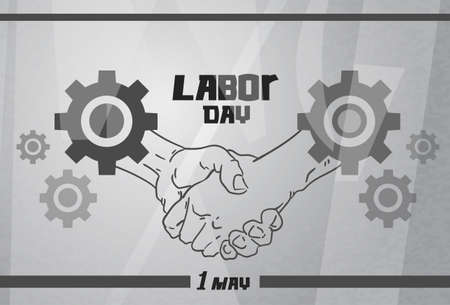 metal worker: International Labor Day, Handshake Worker Agreement Concept Cogwheel Gray Steel Metal Background Vector Illustration