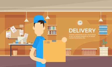 warehouse interior: Courier Man Hold Box Delivery Package Post Service Warehouse Interior Flat Vector Illustration