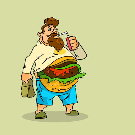 Fat Man Eat Burger Sandwich Soda Soft Drink Junk Unhealthy Fast Food Concept Big Stomach Obesity Weight Problem Flat Vector Illustration Vectores