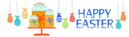 easter cake: Easter Cake Decorated Eggs Set Traditional Food Happy Holiday Horizontal Banner Flat Vector Illustration
