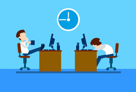 Office Workers Business Man Rest On Break, Sitting Desk Computer, Drink Coffee, Sleep Flat Vector Illustration