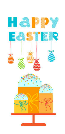decorated cake: Easter Cake Decorated Eggs Set Traditional Food Happy Holiday Vertical Banner Flat Vector Illustration