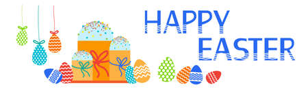 an easter cake: Easter Cake Decorated Eggs Set Traditional Food Happy Holiday Horizontal Banner Flat Vector Illustration