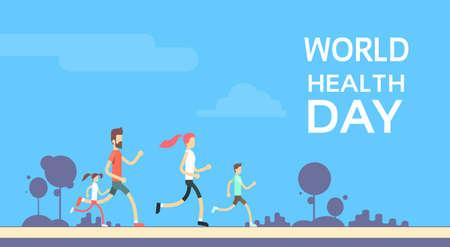 Ilustración Gente que activa la familia de la aptitud del deporte carrera de entrenamiento de Día Mundial de la Salud 7 de abril de plano vectorial