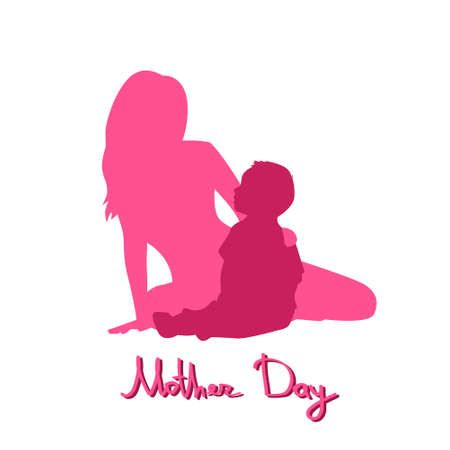 mother love: Happy Mother Day, Silhouette Woman Sit Embracing Child, Family Love Flat Vector Illustration