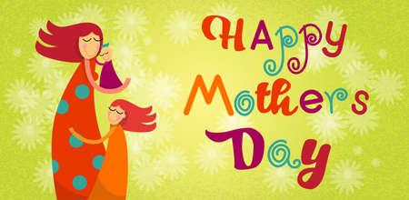 familia abrazo: Día de la Madre de la familia feliz Hijos Hijo Abrazo mamá Bandera de la flor del fondo Ilustración vectorial