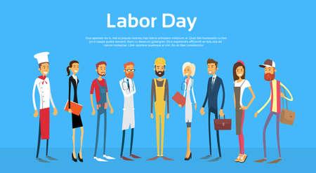 obrero trabajando: La gente grupo diferente conjunto de la ocupación, Ilustración Internacional del Día del Trabajo plana vectorial