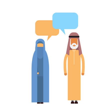 couple talking: Arab Couple People Talking Chat Communication Social Network Muslim Man and Woman Traditional Clothes Arabic Characters Flat Vector Illustration