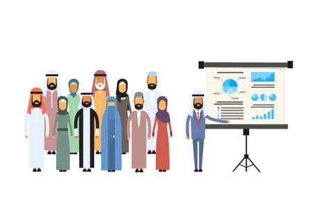 hombre arabe: Árabe Los hombres de negocios Grupo Gráfico Presentación del tirón de Finanzas, empresarios árabe Ilustración Equipos de la conferencia de Formación musulmana Junta plana vectorial