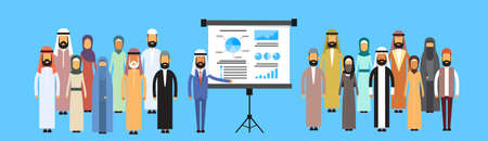 corporate people: Muslim Business People Group Presentation Flip Chart Finance, Arabic Indian Businesspeople Team Training Conference Meeting Flat Vector Illustration