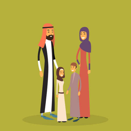 four people: Arab Family Four People, Arabic Parents Two Children Flat Vector Illustration