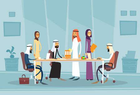 Árabe Los hombres de negocios reunión discutiendo el escritorio de oficina árabe musulmán Empresarios ilustración vectorial plano de trabajo