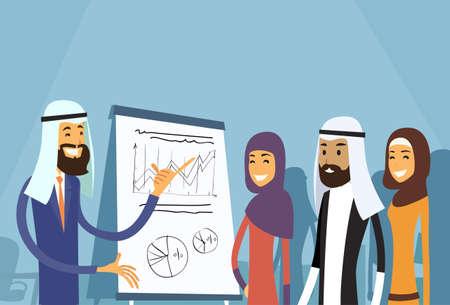 Arabische Business People Group Presentatie Flip Chart Financiën, Arabisch Ondernemers Team Training Conference moslim Meeting Flat Vector Illustration