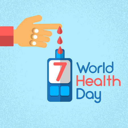 glucose: Hand Finger Blood Drop From Glucose Level Glucometer Diabetes World Health Day 7 April Holiday Banner Flat Vector Illustration Illustration
