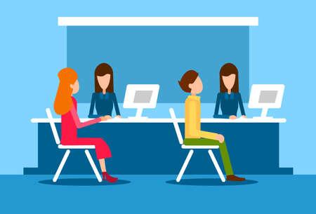 bank bill: Bank Office Interior Client Man Woman Sit Desk Banker Worker Workplace Flat Vector Illustration Illustration