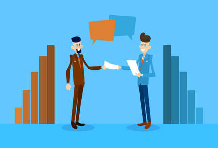 discussing: Two Business Man Talking Discussing Hold Paper Document Chat Box Bubble Communication Bar Graph Flat Vector Illustration