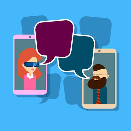 girl wearing glasses: Man Woman Image Cell Smart Phone Social Network Communication Concept With Chat Bubble Vector Illustration