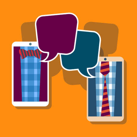 chat bubble vector: Two Hipster Cell Smart Phone Social Network Communication Concept Chat Bubble Vector Illustration