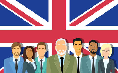 nothern ireland: Senior Businessmen Group of Business People Team Over Great Britain English Flag Flat Vector Illustration