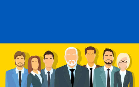 ukrainian flag: Senior Businessmen Group of Business People Team Over Ukrainian Flag Flat Vector Illustration