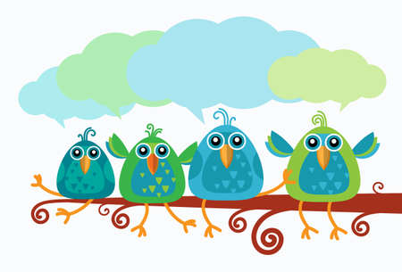 birds on branch: Group Of Birds Chat Communication Sitting on Branch Flat Vector Illustration