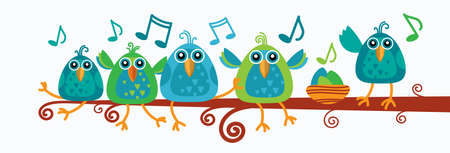 birds on branch: Group Of Birds Sitting On Branch With Music Notes Flat Vector Illustration Illustration