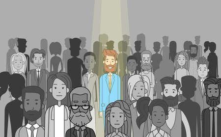Biznesmen Lider wyróżniać z tłumu Individual, Reflektor wypożyczalnia Ilustracja Human Resource Rekrutacja Kandydat People Group Business Team Concept Vector