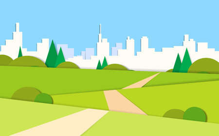 cartoon road: Summer View Green Landscape Valley Road To Modern City View Background Vector Illustration