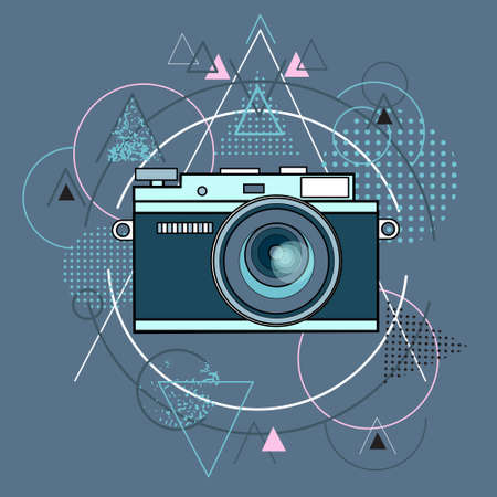 macro: Photo Camera Photography Abstract Triangular Background Vector Illustration Illustration
