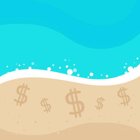Dollar Sign Offshore Sand Beach Vector illustration