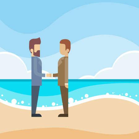 law of panama: Businessmen Handshake Beach Offshore Finance Business Man Shake Hand Flat Vector Illustration Illustration