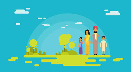 indian family: Indian Family Four People Parents Two Children Nature Background Flat Vector Illustration Illustration
