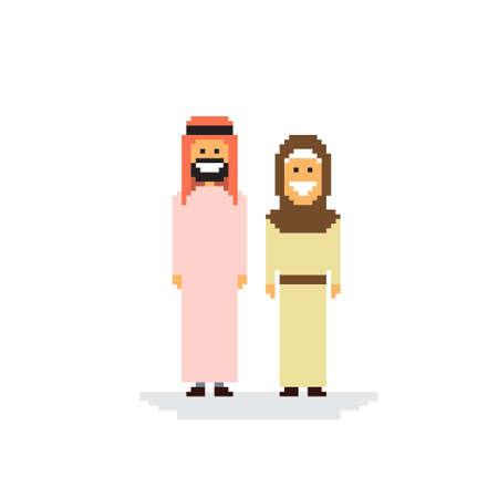アラブのカップルの人々 の人および女性服の伝統的なアラビア文字フラット ベクトル図  イラスト・ベクター素材