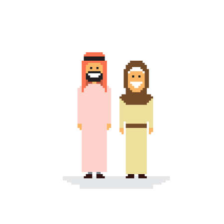 Arab Couple People Man and Woman Traditional Clothes Arabic Characters Flat Vector Illustration