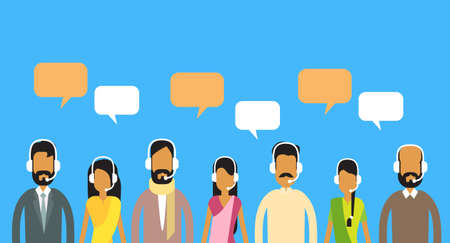 man customer support: Call Center Operators Team, Indian Man Woman Customer Support People Group Chat Bubble Internet Communication Flat Vector Illustration