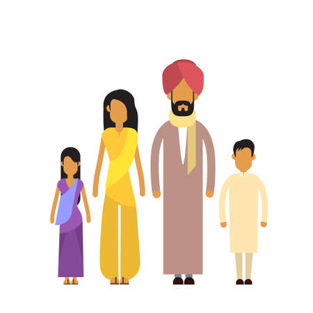 indian family: Indian Family Four People Parents Two Children Flat Vector Illustration