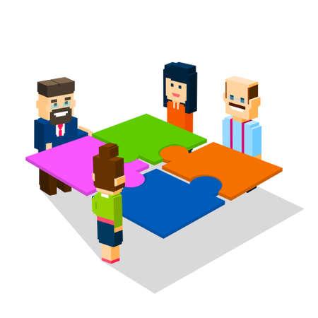 solve: Business People Group Make Puzzle Solve Solution Teamwork Concept 3d Isometric Flat Design Vector Illustration