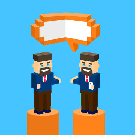 discussing: Business Man Chat Communication Bubble Concept, Businesspeople Talking Discussing 3d Isometric Design Vector Illustration